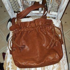 LUCKY Italian lambskin brown leather tulip drawstr